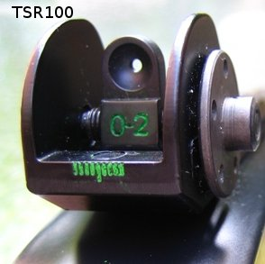 closeup of TSR rear sight