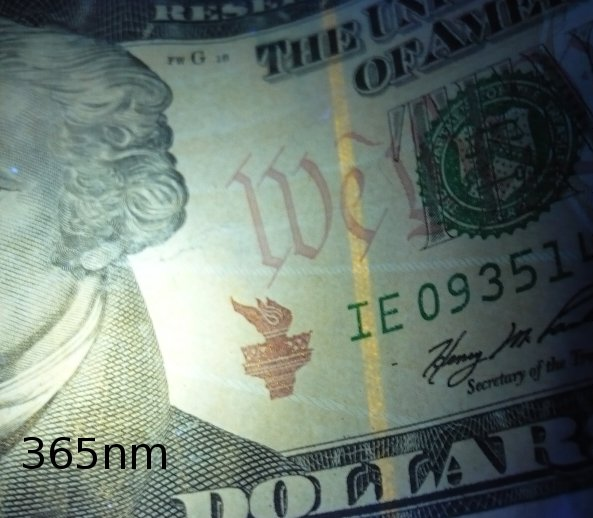 $10 bill as seen using this 365nm flashlight
