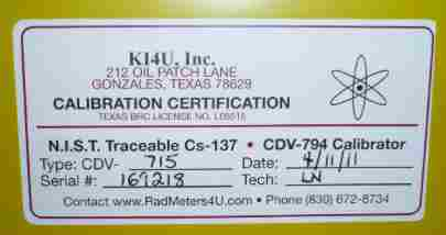 example of the Certification lable